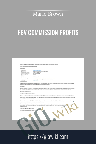 FBV Commission Profits - Mario Brown