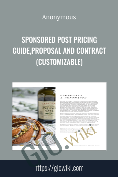 Sponsored Post Pricing Guide, Proposal and Contract (Customizable)